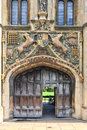 The great gate of Christ`s college university of Cambridge, in Cambridge UK Royalty Free Stock Photo