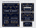 Great Gatsby Art Deco Wedding Invitation Design Template