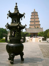 The Great Goose Pagoda with Incense Burner Royalty Free Stock Image