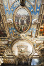 The great hall red room hall fragment of painting ceiling of of council in town in gdansk poland Stock Photos