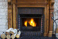 Great Home Fire burning in the fireplace. Royalty Free Stock Photo