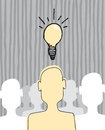 Great idea concept inspiration light bulb cartoon illustration of a man standing out for his Royalty Free Stock Photo