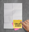 Great job sticky notes on recycle crumpled paper background as concept Stock Photos
