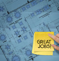 Great job word with sticky note on construction site layout plan crumpled paper Stock Images
