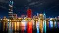 Great Metropolis night shot, Ho Chi Minh city. Royalty Free Stock Photo