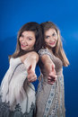 Great or Ok! by beautiful two young woman Royalty Free Stock Image
