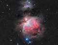 The great orion nebula in constellation with natural color plus hydrogen alpha Royalty Free Stock Photography
