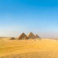 Great pyramids in Giza valley, Cairo, Egypt Royalty Free Stock Photo