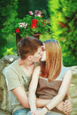 Great relationships love you so much sweet teen couple embracing at street Stock Image