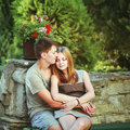 Great relationships love you so much sweet teen couple embracing at street Stock Photos