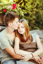 Great relationships love you so much sweet teen couple embracing at street Royalty Free Stock Photos