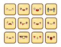 Great set of yellow emotions. Emoji for Web. Anger and compassion. Laughter, tears. Smile sadness surprise. Happiness