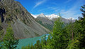 Great shavlinskoe lake view of the grand with a hike to the pass the altai Stock Photo