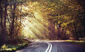 Great shoot of sunbeams above the road Royalty Free Stock Images