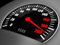 At great speed d illustration of an arrow on a speedometer points to the one hundred ninety Royalty Free Stock Image