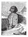 Great Sphinx of Giza in Giza Egypt vintage engraving Royalty Free Stock Photo
