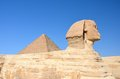 Great Sphinx of Giza with Great Pyramid. Royalty Free Stock Photo