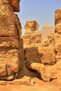 Great Sphinx and Khafre Pyramid Stock Images