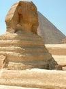 Great Sphinx and Khufu Pyramid, Giza, Egypt Royalty Free Stock Photo