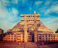 Great stupa sanchi madhya pradesh india vintage retro hipster style travel image of ancient buddhist monument with overlaid grunge Royalty Free Stock Photo