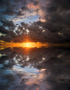 Great sunset above water Stock Image
