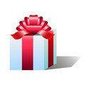 A great surprise gift in white with colorful red bow Stock Images