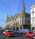 Great theatre and heavy trafic old town havana cuba Stock Photo