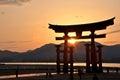 Great tori of Miyajima in the sunset