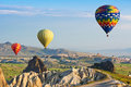 The great tourist attraction is the Cappadocia balloon flight. Cappadocia, Turkey Royalty Free Stock Photo
