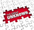 The Great Unknown Puzzle Pieces Hole Uncharted Exploration Adven Royalty Free Stock Photo