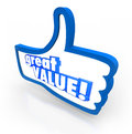 Great value blue thumbs up symbol review recommendation words on a to illustrate feedback rating or for a company or product that Stock Photos
