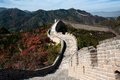 Great wall in autumn on the mountain Royalty Free Stock Photo