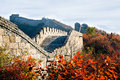 Great wall in autumn photoed in badaling of beijing Royalty Free Stock Image