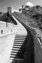 Great wall china black and white view of Stock Photos