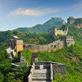 Great Wall of China in Summer Stock Photo