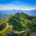 Great wall of china in summer day jinshanling section beijing near Royalty Free Stock Photo