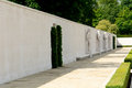 Great wall memorial for unknown us military world war two at only cemetery in england at cambridge Royalty Free Stock Image