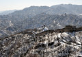 The great wall in winter white snow badaling taken beijing china Royalty Free Stock Photos