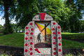 Great war memorial well dressing in buxton derbyshire celebrating the centennial well dressing is a rural england summer Stock Photo