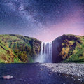 Great waterfall Skogafoss in south of Iceland Royalty Free Stock Photo