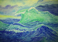 Great wave a big in the time of storm Royalty Free Stock Photography