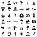 Great wedding icons set, simple style