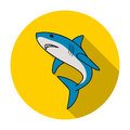 Great white shark icon in flat style isolated on white background. Surfing symbol stock vector illustration. Royalty Free Stock Photo