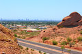 Greater phoenix az metro area as seen from papago park mountains arizona Stock Photos
