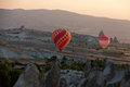 The greatest tourist attraction of cappadocia the flight with the balloon at sunrise turkey Royalty Free Stock Photos