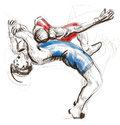 Greco roman wrestling an full sized hand drawn il illustration original from series martial arts is a style of that is Stock Photography