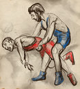 Greco roman wrestling an full sized hand drawn il illustration original from series martial arts is a style of that is Stock Images