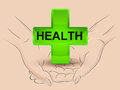 Gree health icon hold two human hands across vector illustration Stock Images