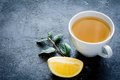 Gree tea with lemon Royalty Free Stock Photo