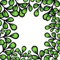 Cartoon green leaves vector frame